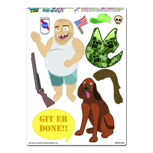 Graphics and More 'Redneck Man Dress-Up' Hillbilly Trailer Trash Funny MAG-NEATO'S Novelty Gift Paper Doll Locker Refrigerator Vinyl Magnet Set (Refrigerator Magnets Paper Doll compare prices)