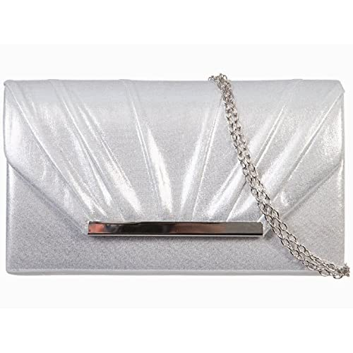 Accessorize-me New Sparkling Glitter Shimmer Evening Clutch Bag Handbag & Shoulder chain A83