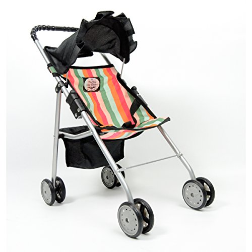 Sale!! The New York Doll Collection Striped Travel Stroller with Basket