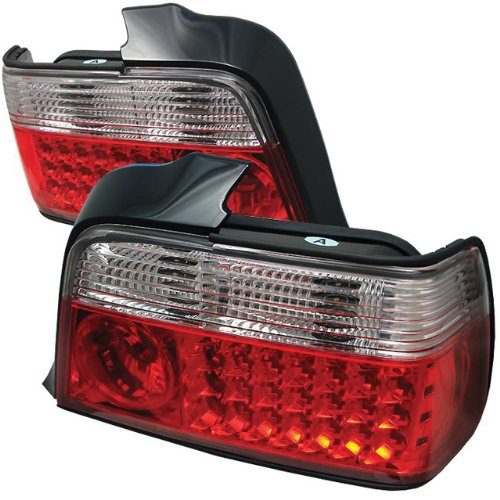 Redlines Tl-Be3692-4D-Led-Rc Red/Clear Medium Led Tail Light For Bmw E36 3-Series '92-'98 4Dr - Pair