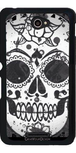 Grabyourdesign 1433490366__44 441-Custodia per Sony Xperia E4 sugarskull di più colori in vita, colore: nero/bianco