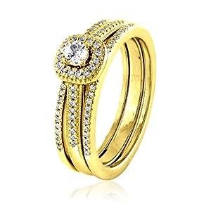 0.29 CT. 18K Yellow Gold GH-I2 Natural White Diamond Bridal Collection Engagement Ring Set Wedding Band