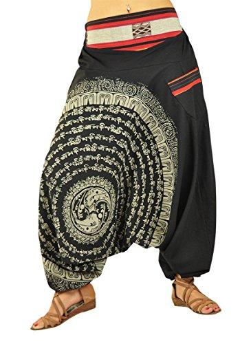 Pantaloni in stile Aladdin con cavallo basso e con Mandala disegnati a mano, da indossare come vestiti alternativi della virblatt - Nirvana (Nero)