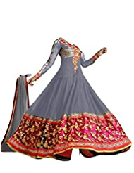 FAUX GEORGETTE ANARKALI SUIT IN GREY COLOUR - 1301-Grey (SD-1301)