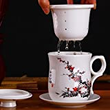 Xiduobao Chinese Style Porcelain Handmade Kung Fu Tea Cup,Ceramic Tea Cup With Loose Leaf Tea Brewing System Beautifully...