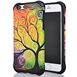 Iphone 6 Case, Meaci® Cell Phone Case for Iphone 6 (4.7 Inch) Case 2 in 1 Combo Hybrid Hard Pc & Rubber Case Dual Layer Bumper with Smooth Exquisite Abstract Painting Tree Pattern Protective Case - Black Rubber