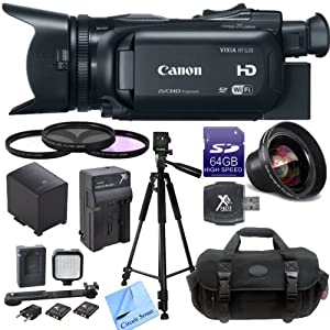 Canon VIXIA HF G30 Full HD Camcorder CS Starters Kit: Includes Full Size Aluminum Tripod With Case, LED Video Light, 64GB SDXC Memory Card, SD Card Reader, Canon BP828 Replacement Battery, Rapid Travel Charger, High Definition Wide Angle Lens, 3 Piece Pro