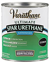 Rust-Oleum VARATHANE Water-Based Spar Urethane for Exterior Furniture & Wood Polish, 946 ml, SEMI GLOSS Finish