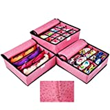 Set of 3 Foldable Drawer Dividers, Pink Storage Boxes for Underwear, Bra, Socks and Ties