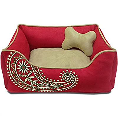 Blueberry Pet Fully Removable Cat or Dog Beds| Premium 100% Recyclable Eco-Friendly Micro Suede| Paisley or Color-block Comfort Designed in the USA| Reversible, Machine Washable Cold