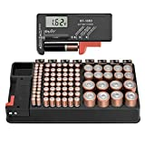 The Battery Storage Organizer Case and Battery Tester, Holds 110 Batteries Various Sizes for AAA, AA, 9V, C, D and Button Battery (Color: Black)