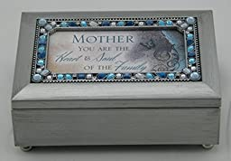 Mother You Are Jeweled Silver Finish Jewelry Music Box - Plays Tune Wind Beneath My Wings by Cottage Garden