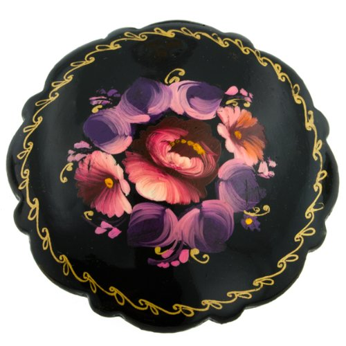 Hand-painted Flowers Papier Mache Brooch stainless Steel Clasp