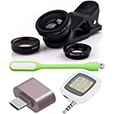 Advent Graphics Combo Of Universal Mobile Camera Lens Kit, Cute Little OTG Adapter, USB LED Light And Selfie LED...