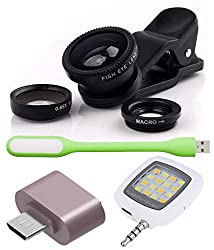 Advent Graphics Combo of Universal Mobile Camera Lens Kit, Cute little OTG Adapter, USB LED Light and Selfie LED Flash Light
