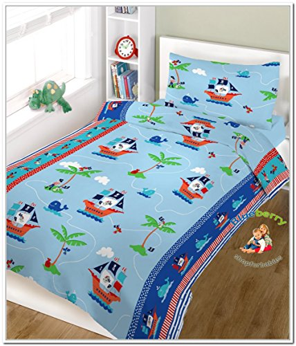"BlueberryShop 2 pcs BABY COT BED BUNDLE BEDDING SET DUVET+PILLOW COVERS 90 x 120 cm (35.5"" x 47"") ( 0-7Yrs ) ( 120 x 90 cm ) Blue Pirate - 1"