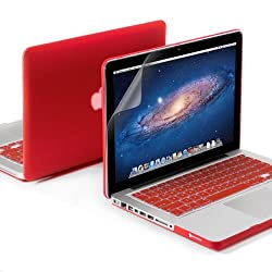 GMYLE(R) 3 in 1 Red Matte Rubber Coated See-Thru Hard Case Cover for Aluminum Unibody 13.3 inches Macbook Pro - with Red Silicon Keyboard Protector - 13 inches Clear LCD Screen Protector