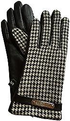 Lauren Ralph Lauren Leather Houndstooth Gloves Medium