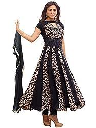 Orange Fab Women's Black Printed Anarkali Suit Dress Material