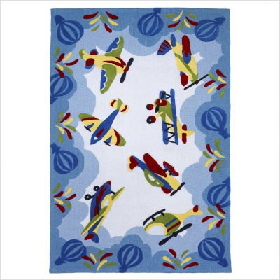 "Kolorful Kidz Friendly Skies Blue Kids Rug Size: 3'3"" x 5'3"""