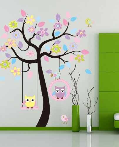 Huge Removable Swing Owl & Birds Colorful Scroll
