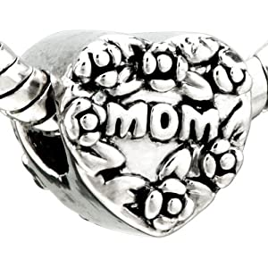 Mothers Day Gifts Love Mom Heart Bead Pandora Chamilia Biagi Charm Bracelet Compatible