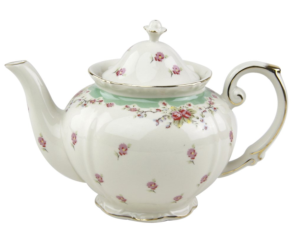 Gracie China Vintage Green Rose Porcelain 5-Cup Teapot 0