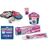 Cupcake Lover's Gift Set - Cupcake Toothpaste, Cupcake Mints, Cupcake Dental Floss & Cupcake Lip Balm (Bundle of 4 Items)
