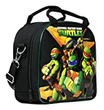 TMNT Ninja Turtles Lunch Box Carry Bag with Shoulder Strap and Water Bottle (BLACK)