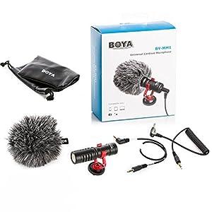 BOYA by-MM1 Universal Cardiod Shotgun Microphone MIC Video for Smartphone DSLR (Color: Black, Tamaño: S)