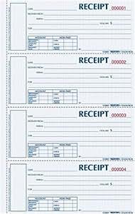 "BLUELINE Rediform Money Receipt Book, Hardbound, 2 x 6.875"", 4 per Page, 200 Triplicates (S1657NCL)"