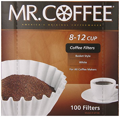 Mr. Coffee Basket Coffee Filters, 8-12 Cup, White Paper, 8-inch, 100-Count Boxes (Pack of 12 ...