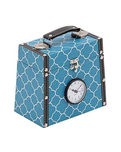 Blue Wood Vinyl Clock Box