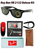 Ray Ban RB2132 New Wayfarer Sunglasses, 901L Black (G-15XLT Lens), 55mm - Deluxe Kit