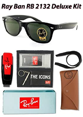 Ray Ban RB2132 Wayfarer Sunglasses,901L Black (G-15XLT Lens),55mm-Deluxe