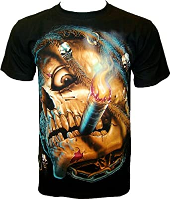 ROCK CHANG T-SHIRT Smoking Skull (Glow In The Dark - lueur dans l'obscurité) Noir Black GR 333 (s m l xl xxl) (S)