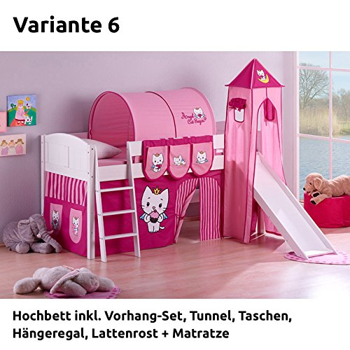 Hochbett Spielbett IDA Angel Cat Sugar, mit Turm, Rutsche und Vorhang, weiß, Variante 6 kaufen