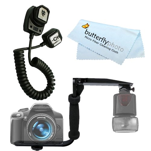 Rotating Flash Bracket Grip + I-TTL Off Camera Shoe Flash Cord FOR Nikon D5100 D200 D100 D700 D70S D80 D70 D50 D5000 D3000 D300S D90 D40 D40X D60 D3 D2H D3X D7000 D3100 D5100 DSLR + BP MicroFiber Cleaning Cloth