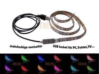 2m LED Streifen Strip Licht Leiste RGB 5V Stecker Batteriebox USB-Kabel