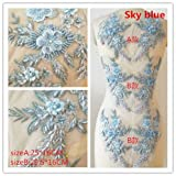 Hand Beaded Flower Sequence 3D Lace Applique Motif Sold by 3 Pairs Great for DIY Decorated Craft Sewing Costume Evening Bridal Top A6 (Sky Blue) (Color: Sky Blue)