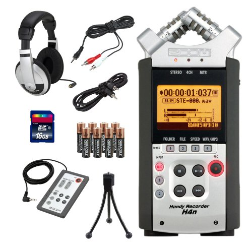 Zoom H4N Handy Recorder Bundle With Rc-4 Remote Control, Sd Card, Mini Tripod, Headphones, 1/8-Inch-To-Rca Cable, And 3.5Mm Stereo Cable