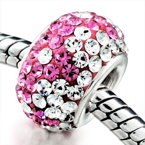 Pugster Clear & Pink Crystal Shine European Bead Fits Pandora Charm Bracelet