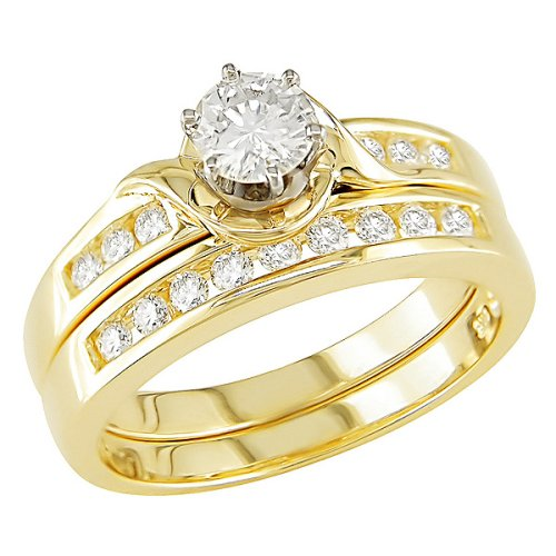14K Yellow Gold 3/4 Carat Round Cut Diamond Bridal Ring Set