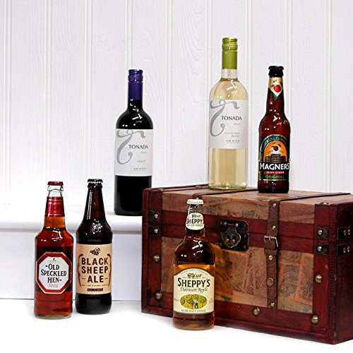 Vintage Wine, Beer & Cider Christmas Gift Chest Hamper for Him Men Dad - Includes 2 x 750ml Tonada Wines, 2 x 500ml Ales, 2 x Ciders From the Fine Food Store (6 Items)