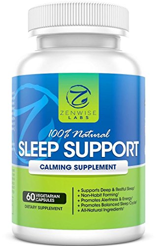 100% Natural Sleep Support  Extra Strength Nighttime Sleep Aid Supplement  60 Vegetarian NonHabit Forming Capsules With Magnesium, LTaurine, LTheanine & 5HTP  Pills for Deep & Restful Sleeping USA Picture