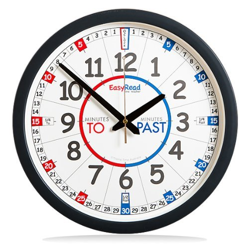 "EasyRead Time Teacher Children's Wall Clock with simple 3-Step Teaching System, for home & school classroom, 14"" dia, learn to tell the time , ages 5-12"