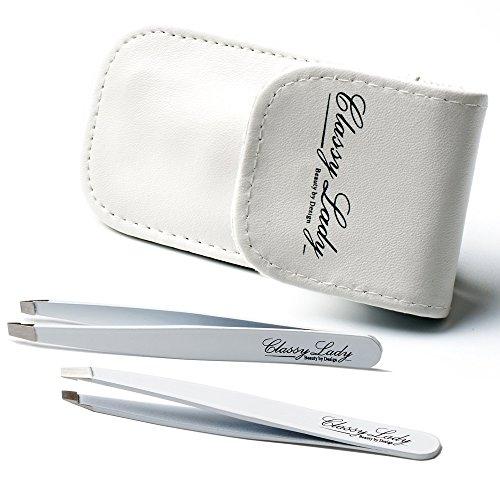 ClassyLady-Set di pinzette, con custodia in pelle, 2 pezzi, pinzette per sopracciglia in acciaio inossidabile, di ottima qualità, di alta precisione, idea regalo per il viso e naso Ingrown capelli e schegge