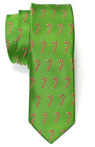 Retreez Green Christmas Woven Skinny Tie With Christmas Candy Canes Pattern