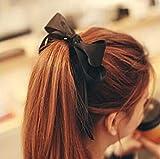 韓国お嬢様風 ヘアゴム 選べる6カラー 可愛らしい大きいリボン ヘアアクセサリー (ブラック)