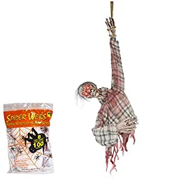 Halloween Prop Animated Hanging Ghoul Torso Sound Activated and Spider Webbing Decoration 36 Inches